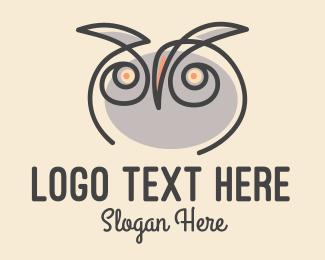 Art Teacher - Owl Scribble logo design