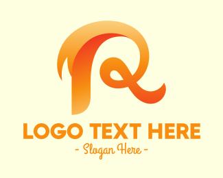 Calligraphy - Fancy Orange Letter R logo design