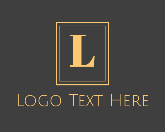 Accommodation - Gold Text Emblem logo design