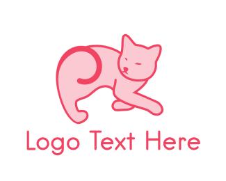 Cute Cat - Pink Kitten logo design