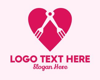 Dating App -  Heart Compass Fork logo design
