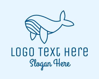 Swimming - Blue Whale logo design