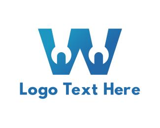 Modification - Wrench W Outline logo design