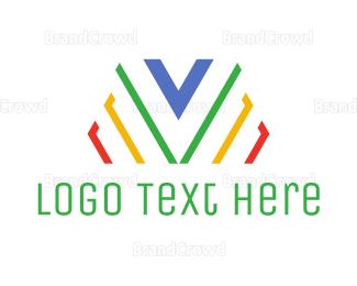 Ck - Colorful Stripe V logo design