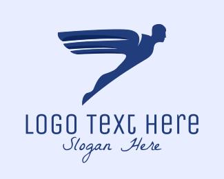 Human - Winged Bionic Human logo design