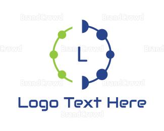Cyber - Dot Circle Text logo design