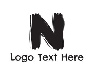 Brushstroke - Black Letter N logo design