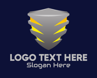 Metallic - 3D Metallic Shield logo design