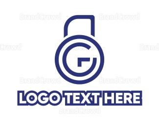 Biometric - Blue G Padlock logo design