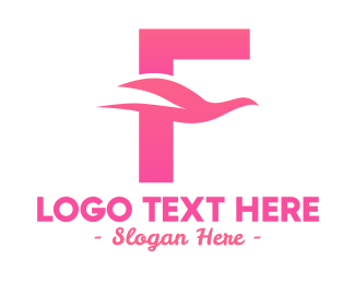 Beach Resort - Pink Dove Letter F logo design