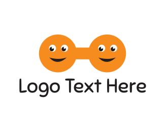 Twin - Happy Dumbbell logo design