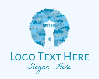 Watercolor - Blue Watercolor Lighthouse logo design