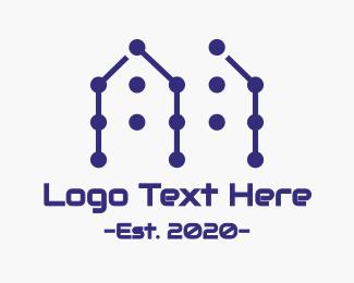 Renovation - Blue House Pattern logo design