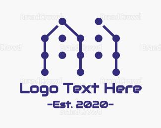 Build - Blue House Pattern logo design