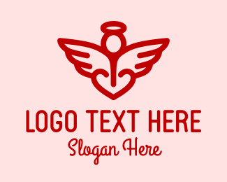 Halo - Red Angel Heart  logo design
