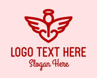 Archangel - Red Angel Heart  logo design
