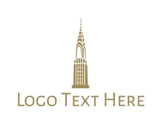 Ny - Golden Chrysler Building logo design