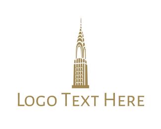 New York City - Golden Chrysler Building logo design