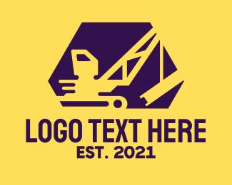 Machine - Construction Crane Machine logo design