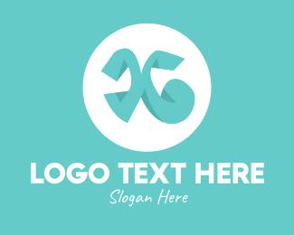 Teal - Teal Letter X logo design