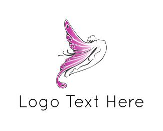 Fairy - Fairy Butterfly Woman logo design