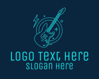 Neon Lights - Neon Electric Guitar logo design