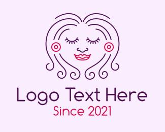 Pretty - Smiling Pretty Lady logo design