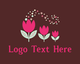 Green And Pink - Pink Tulips logo design