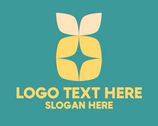 Pineapple - Flower Yellow Petals  logo design
