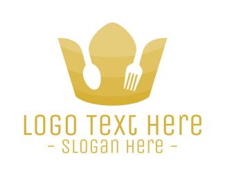 Cutlery - Gold Royal Restaurant Knife & Fork logo design