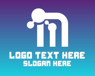 Hack - Networking Letter M logo design