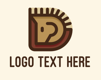 Pet Lover - Wooden Horse Letter D logo design