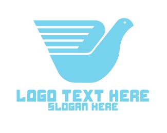 Messenger - Blue Messenger Bird Wing logo design