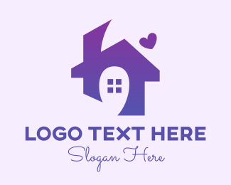 Home Care - Purple Lovely Home Letter H logo design