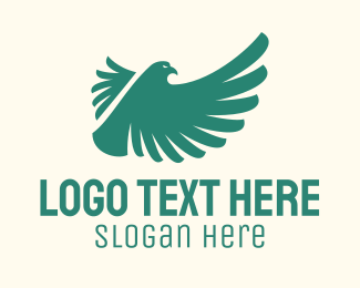 Flying - Green Flying Bird logo design