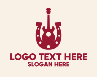 Country Music - Red Country Guitar  logo design