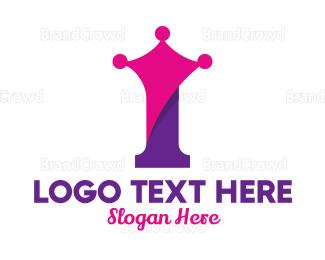 Tiara - Modern Royal Number 1 logo design