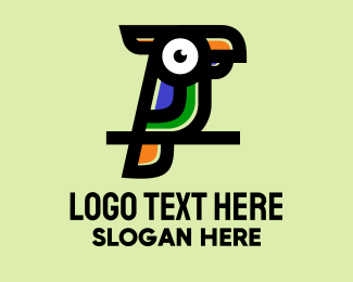Tropical Bird - Colorful Toucan Bird  logo design