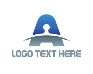 Key - Keyhole Letter logo design