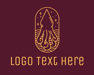 Calamari - Octopus Squid Monoline logo design