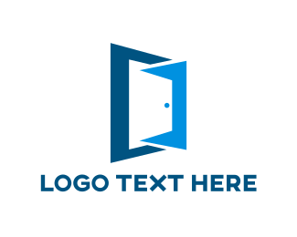 Room - Blue Door Outline logo design