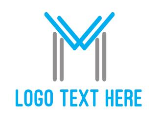Bp - Blue Grey M Outline logo design
