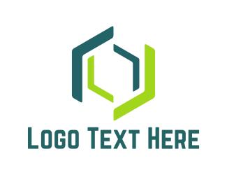 Computing - Green Hexagons logo design