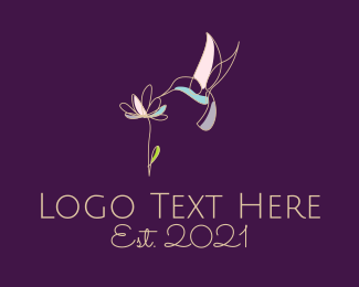 Colibri - Hummingbird Flower logo design