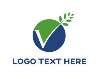 Letter V - Eco Letter V logo design