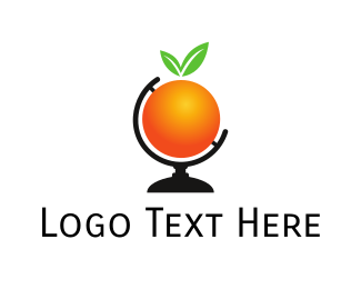 World Map - Orange World logo design