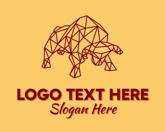 Numerology - Minimalist Geometric Ox logo design