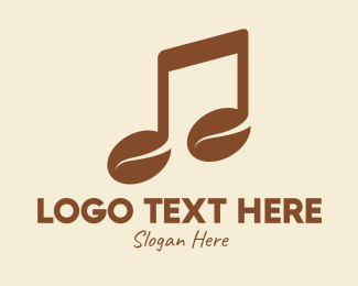 Tune - Brown Musical Coffee Bean logo design