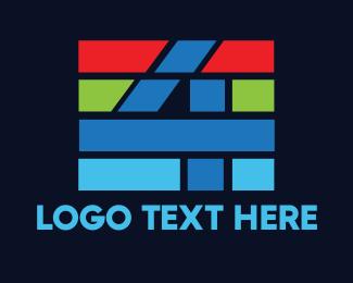 Broadcasting - Colorful Stripe Number 4 logo design