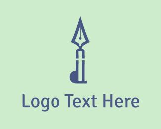 Calligraphic - Blue Quill logo design